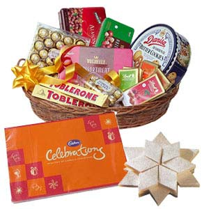 Assorted Chocolates Basket With Kaju Katli: Gift Bangalore,  India