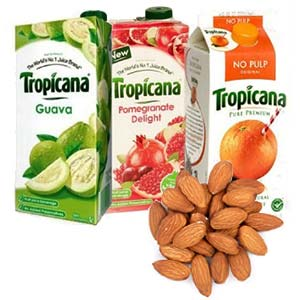 Tropicana Juice Combo With Dry Fruits: Gifts For Her Kochi,  India