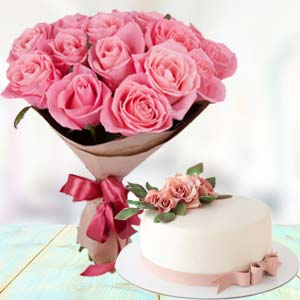 Pink Roses With Cream Cake: Gifts For Her Jagadhri,  India