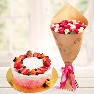 Strawberry Fruit Cake With Roses: Gift Yamuna Nagar,  India