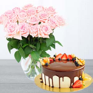 Pink Roses With Chocolate Fruit Cake: Gift Bulandshahr,  India