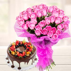 Chocolate Fruit Cake With Pink Roses: Rakhi Hoshiarpur,  India