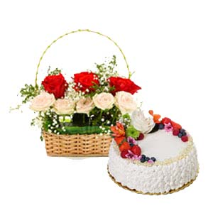 Mix Roses With Fruit Cake: Gifts For Her Jalandhar,  India