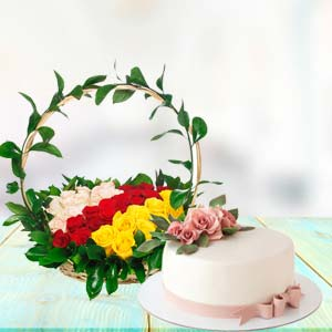 Mix Roses With Cake Combo: Thank-you  India