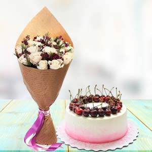 White Roses With Cherry Cake: Gift Mumbai,  India