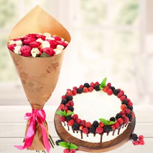 Mix Roses With Cherry Fruit Cake: Gifts For Her  India