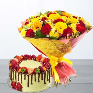 Mix Roses With Butterscotch Fruit Cake: Gift Gurdaspur,  India