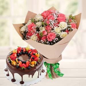 Vanila Chocolate Fruit Cake Combo: Gift Ludhiana,  India