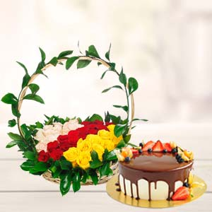 Chocolate Fruit Cake With Roses Basket: Gifts For Wife  India