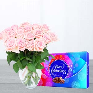 Pink Roses And Chocolates : Gift Surat,  India