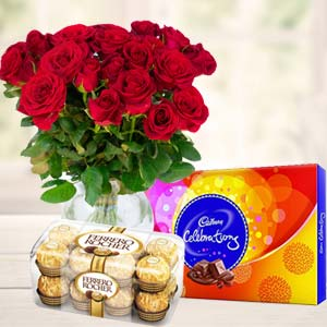 Red Roses With Chocolate Gifts: Rakhi  India