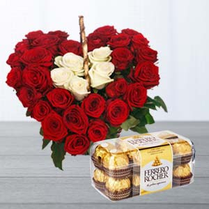 Roses Arrangement With Ferrero Rocher: Gifts For Her Delhi,  India