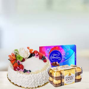 Fruit Cake With Chocolates Combo: Gifts For Her Jabalpur,  India