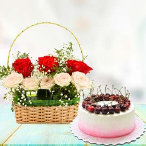 Flowers With Cherry Cake: Gift Bareilly,  India