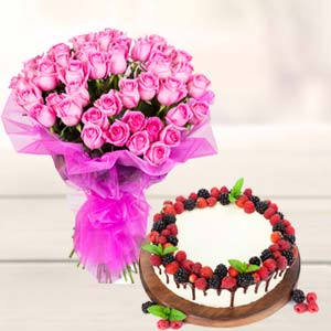 Roses With Cake Gifts Combo: Gifts For Husband Bikaner,  India