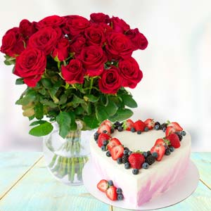 Flowers With Heart Shape Cake: Gift Raipur,  India