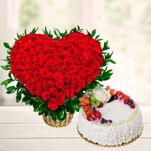 Flowers With Fresh Fruit Cake: Birthday-gift-ideas  India