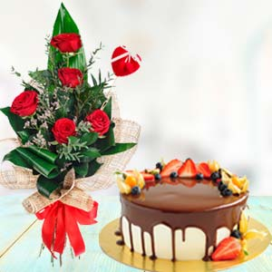 Flowers With Chocolate Fruit Cake: Gifts Bangalore,  India