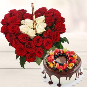 Heart Shape Arrangement With Cake: New-born  India