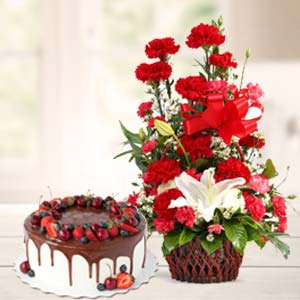 Carnations With Chocolate Cake: Gift Kochi,  India