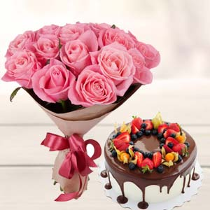 Pink Rose Bunch With Cake: Gift Ambala Cantt,  India