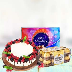 Chocolate Gifts With Fruit Cake: Rakhi Kochi,  India