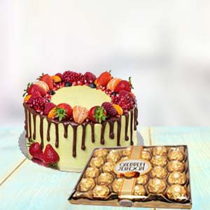 Fruit Cake With Yummy Chocolates: Gifts For Her Faridabad,  India