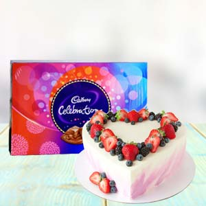 Heart Shape Cake Combo With Chocolates: Gifts Mumbai,  India