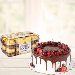 Cake Combo With Chocolates: Gifts For Her Zirakpur,  India