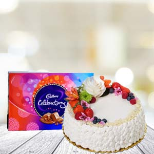 Cake With Celebration Chocolates: Gift Faizabad,  India