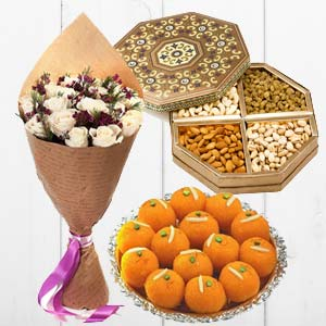 Flower With Dry Fruits And Sweets: Gifts For Her Delhi,  India