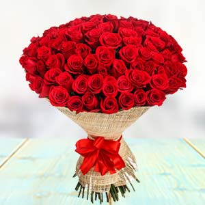 100 Red Roses: Rose Day Faridabad,  India