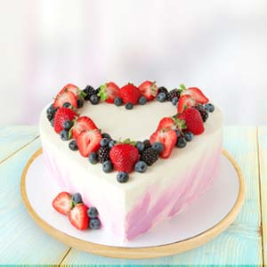 Heart Shape Fruit Cake: Teddy Day Goa,  India