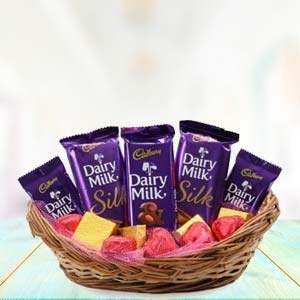 Dairy Silk Chocolate Basket: Gifts For Her Jabalpur,  India