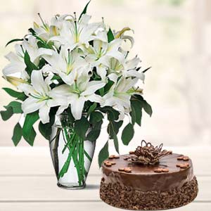 White Lilies and Cake Combos Mixed Mithai And Roses, India